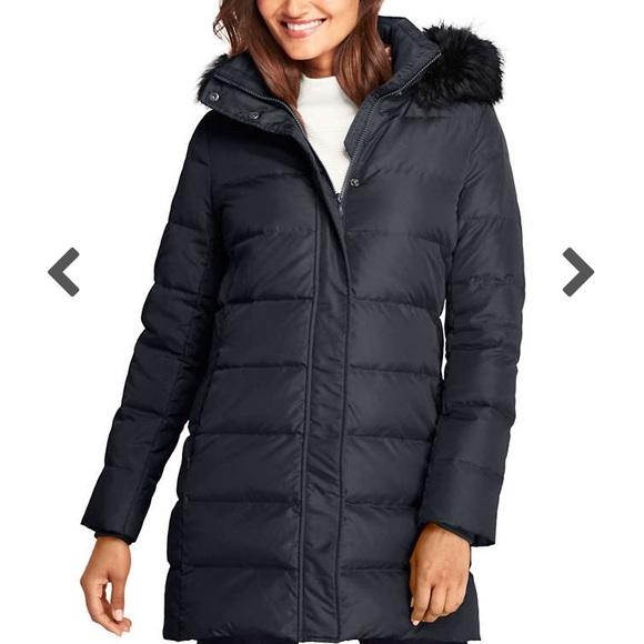 99372432f Women's Winter Long Down Coat with Faux Fur Hood NWT